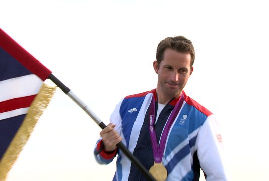 Ben Ainslie with Team GB flag