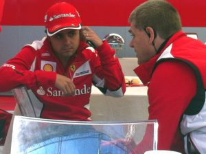 Felipe Massa relaxes before taking to the track at Silverstone. Photos copyright: visionsport