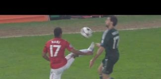 Nani Red Card For Karate Kick on Arbeloa - Manchester United vs Real Madrid (5-3-201