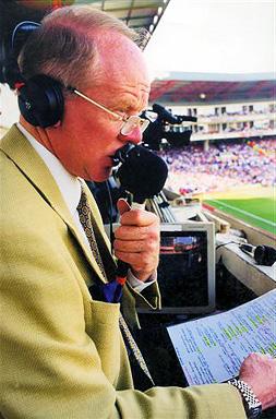 Legendary football voice Tony Gubba in the commentary position