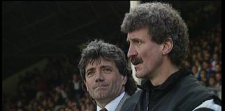 Kevin Keegan pictured here with right hand man Terry McDermott experienced a meltdown live on Sky Sports in his mindgames with Sir Alex Ferguson. An famous episode featured in the DVD Keegan's Kingdom.
