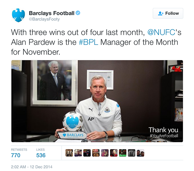 Alan Pardew manager of the month