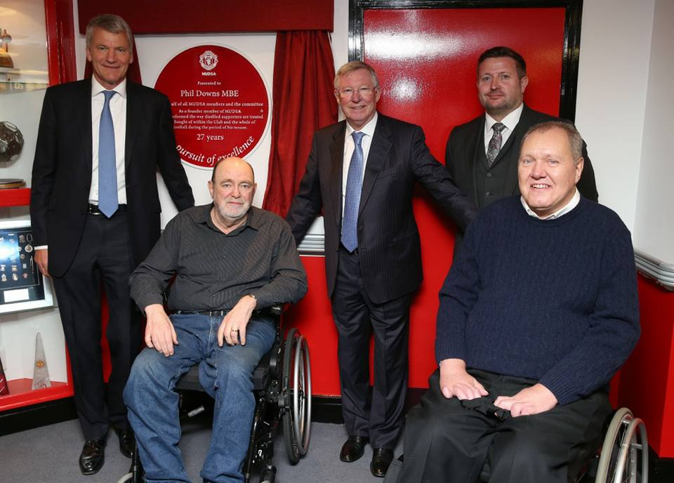 Phil Downs (right) with (Left to right) David Gills, Chas Banks, Sir Alex Ferguson and Richard Arnold at the ceremony to re-name the Ability Suite in his honour.