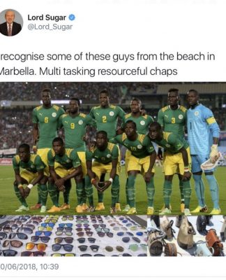 Lord Sugar racist tweet about Senegal