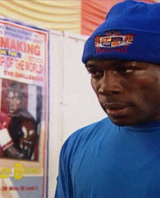 Frank Bruno before world title fight with champion Lennox Lewis