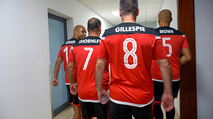 Danny Webber, Ben Thornley, Keith Gillsepie and Wes Brown leave the dressing room.