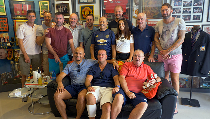 Ben Thornley and some of the former Manchester United players who played in Malta with museum owner Joe Midani and his daughter Nydianne.
