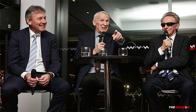 Paddy Crerand flanked by Bryan Robson and Denis Law - speaking at the Gala Dinner celebrating the 60th anniversary of the world's oldest Manchester United Supporters Club.