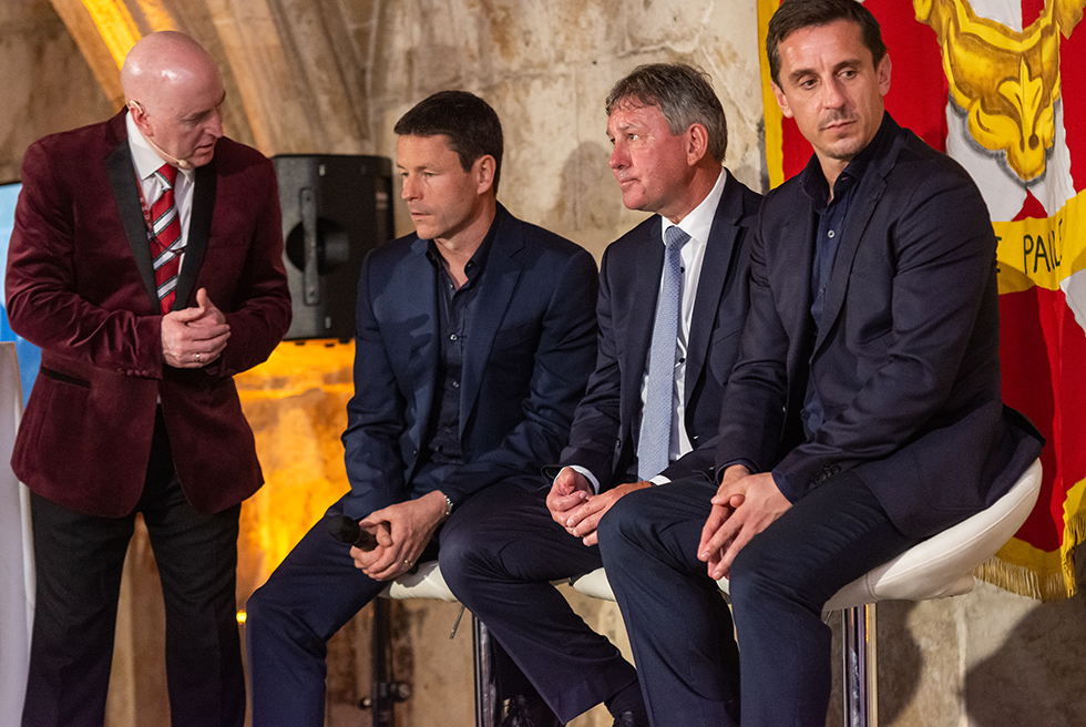 Alan Keegan in conversation with PaulMcGuinness, Bryan Robson and Gary Neville