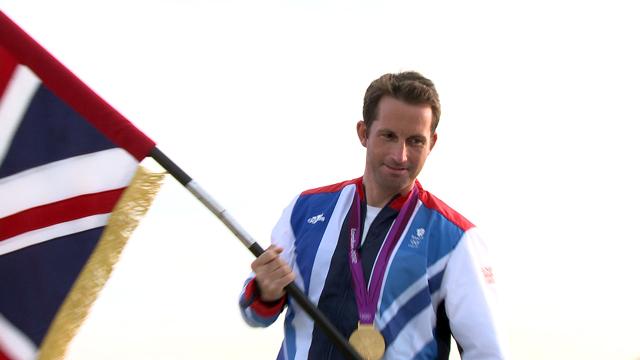 Ben Ainslie with Team GB flag