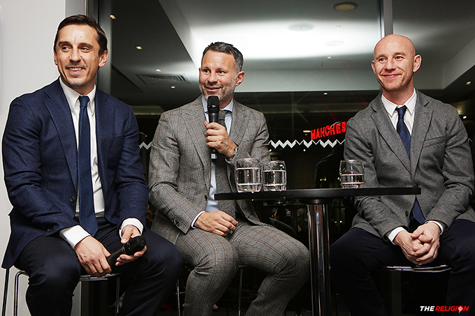 Gary Neville, Ryan Giggs and Nicky Butt at the Malta 60 Years Gala Dinner at Hotel Football
