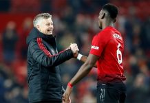 Ole Gunnar Solskjaer celebrates with Paul Pogba