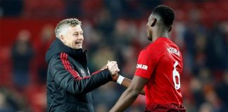 Ole Gunnar Solskjaer celebrates with Paul Pogba