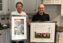 Denis Law and Alan Wardle with paintings for charity auction
