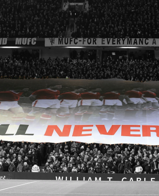 We'll Never Die flag surfing Stretford End
